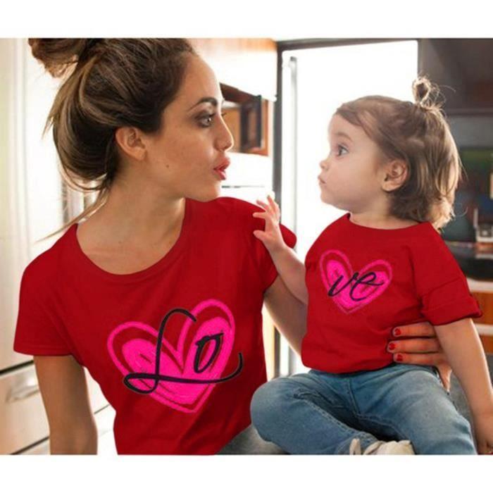 Mère Manches Imprimé Chemisier349 Vêtements Amour À Et shirts Fille Tops Courtes T u1FlK3T5Jc