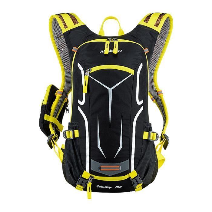 les hommes et les femmes ANMEILU 18L en plein air sac a dos equitation a dos de velo avec housse de pluie de la (jaune)