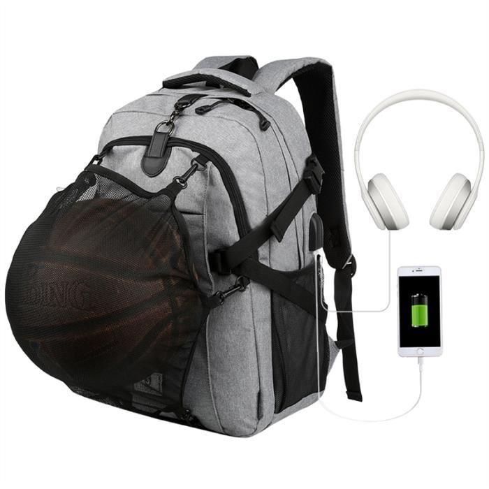 Vbiger hommes de basket-ball Sac à dos, la fonction de charge USB et un câble audio, Fits 15.6Laptop, Gris