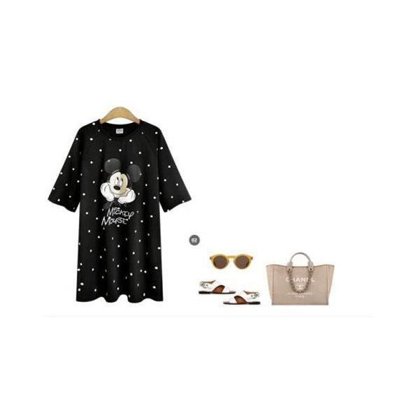 Simple Flavor Robe Femme Col Rond Grande Taille Dessin Anime Mode