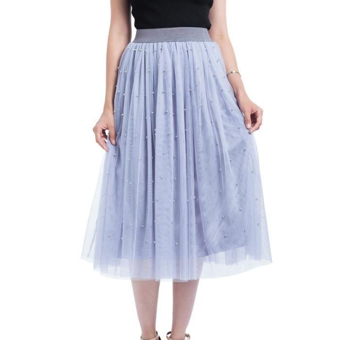 Femmes Princesse Perles Taille Plus 260 Maille Tulle Bulle Jupe Plissée 5j4LqcA3R