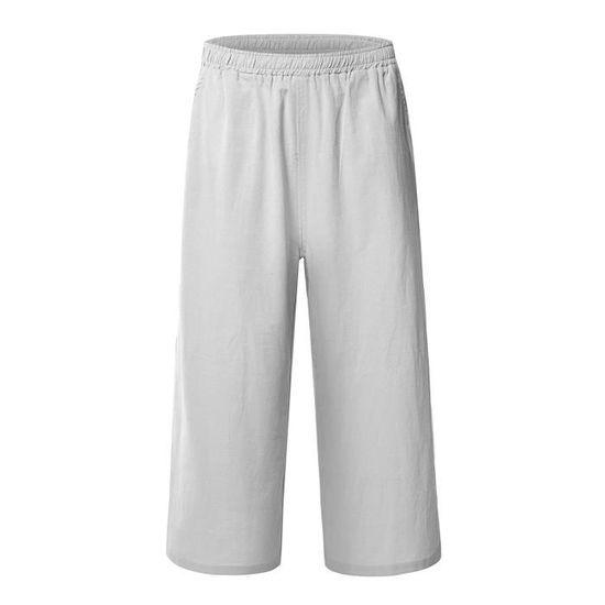 Minetom Pantalon Large à jambes et Fluides pour Femmes Confortable  Elastiqué Grande Taille 3-4 Longue Coton Lin Gris clair 01 - Achat   Vente  pantalon - ... 2ec4a9d0a0d1