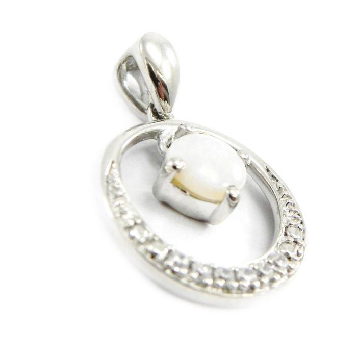 Pendentif Argent Déesse Opale blanc