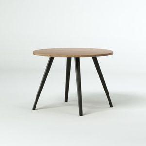 STAFFORD Table basse ronde vintage en plaqué fr ne pieds en hévéa laqué noir L 50 x l 50 cm