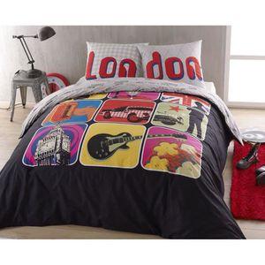 housse de couette london 140x200 achat vente housse de couette london 140x200 pas cher. Black Bedroom Furniture Sets. Home Design Ideas