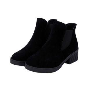 BOTTINE Chaussures noires veloutées à talon moyen pour Fem