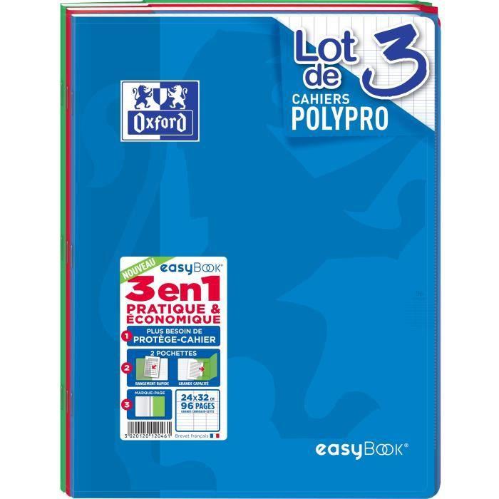 OXFORD Lot de 3 cahiers agrafés 96 pages seyès 24 x 32 cm Easybook - 90g - Coloris assortis