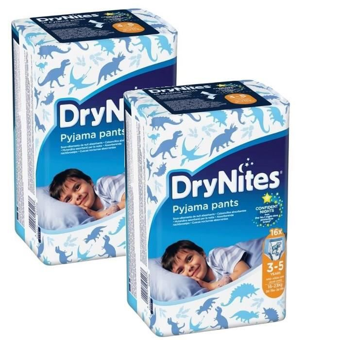 HUGGIES Lot de 2 DryNites Boy 3-5ans - 16-23kg x16