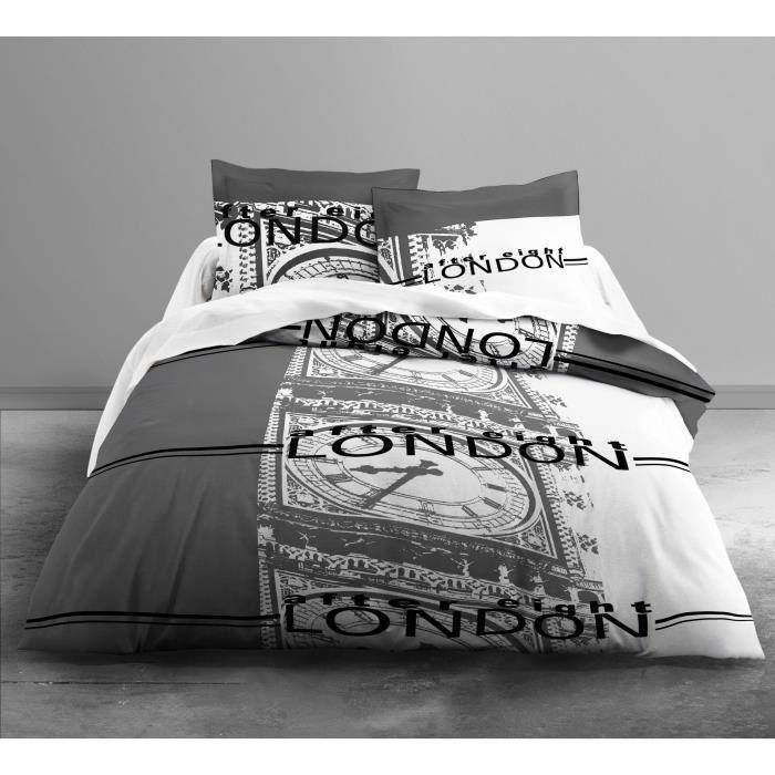 TODAY Parure de couette Enjoy Big Ben Grey 100% coton - 1 housse de couette 220x240 cm + 2 taies 63x63 cm gris et blanc
