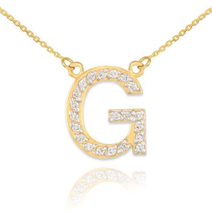 Pendentif 14 ct Or 585/1000lettre initiale deinitial G Diamants