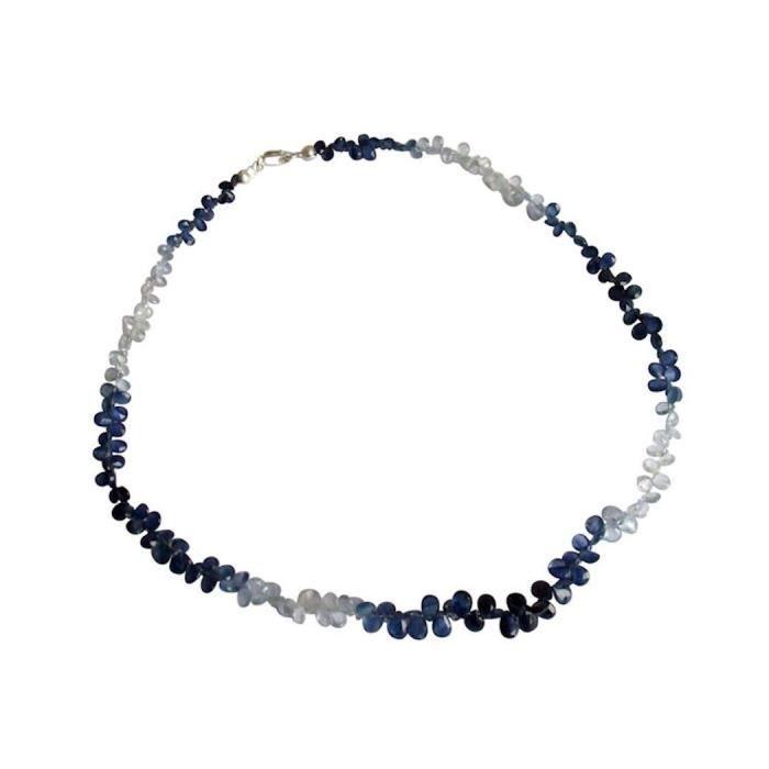 Gemshine - Femmes - Collier - 925 Argent - Saphir - Bleu - 45 cm