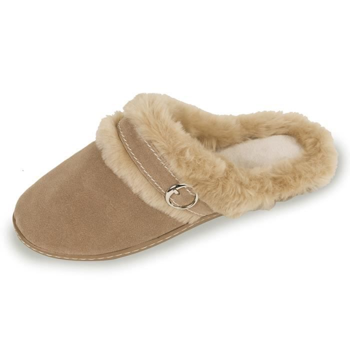 CHAUSSONS FEMME : Mules cuir vel… Beige