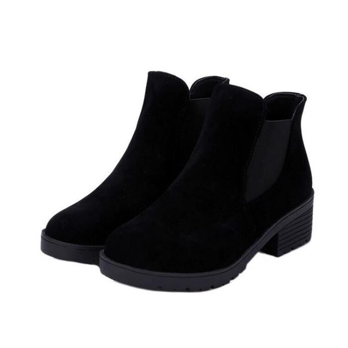 b4f47b70a4a86d Chaussures noires veloutées à talon moyen pour Femme style américain ...