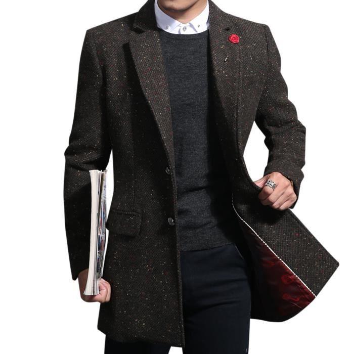 6ec8612816683 Manteau homme structuré coupe slim demi longue en laine moucheté à ...