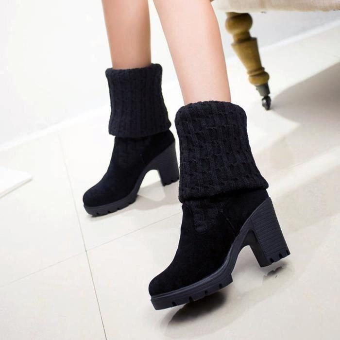 élastique de femmes sur épais talon les Stretch genou orteil Mode bottes bottes tricotant gIqxgY8