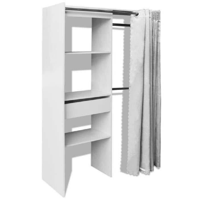 garde robe avec rideau r glable en largeur 121 168 cm. Black Bedroom Furniture Sets. Home Design Ideas
