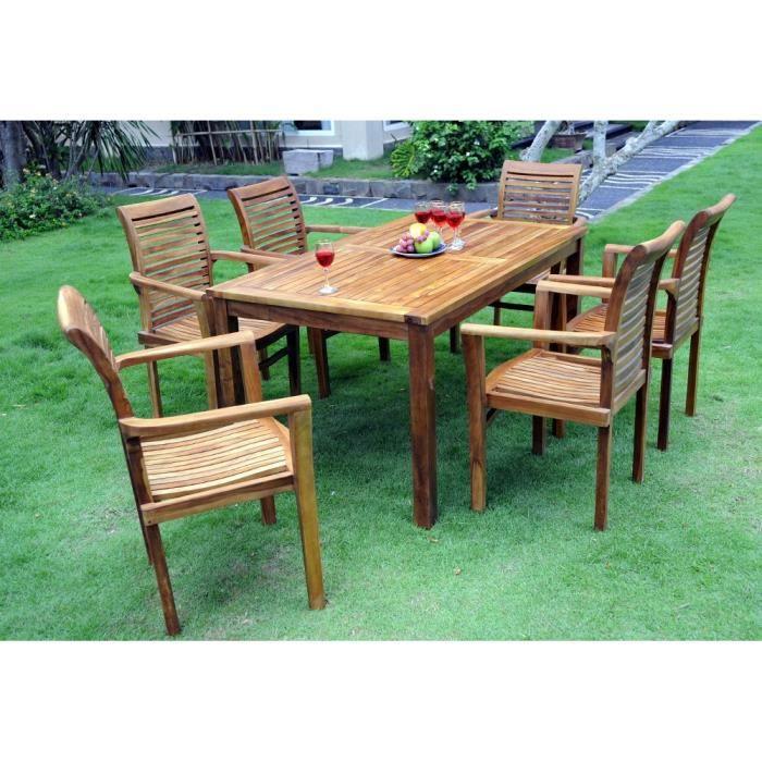 Salon de jardin en teck huilé avec 6 fauteuils empilables ...