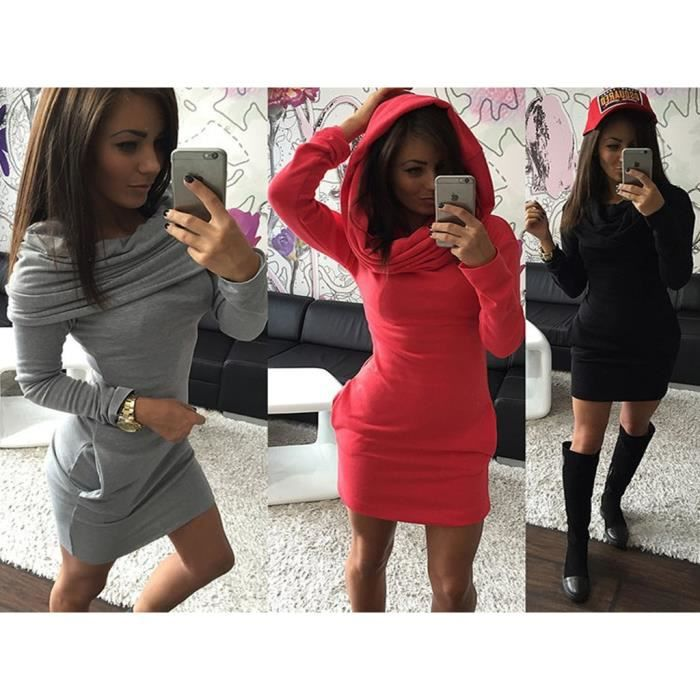 robes femmes Manches longues Slim hip sexy Hooded
