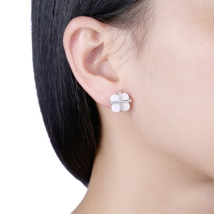 Boucles doreilles femme en Plating Platinum Diamants de trèfle en céramique Blanc Swarovski Elements Cristal Boucles doreilles