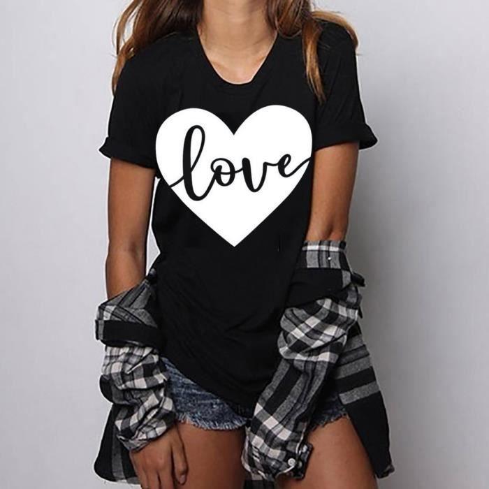 shirts T Courtes Chemisier Noir Femmes Tops Manches Size Filles Print T Plus shirt wHHOpX4qF