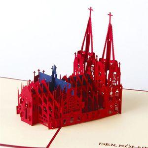 Cathédrale 3d Pop Up Mariage Amant Joyeux Anniversaire Anniversaire Cartes De Voeux Gol Tata2583