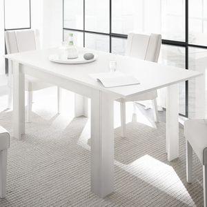 TABLE À MANGER SEULE Table extensible design blanc laqué ALANO Blanc L