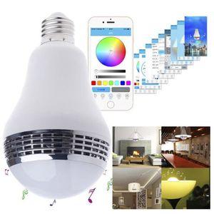 AMPOULE INTELLIGENTE WiFi Bluetooth LED RGB Haut-parleurs E27 Ampoule i