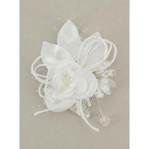 FLEUR ARTIFICIELLE Boutonnière mariage fleur et dentelle - Blanc - Ta