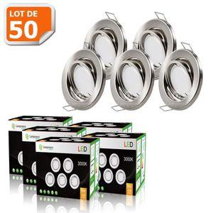 SPOTS - LIGNE DE SPOTS LOT DE 50 SPOT LED ENCASTRABLE COMPLETE ORIENTABLE