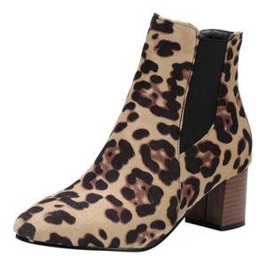 BOTTE Mode féminine Chaussures Leopard Courtes en bottes