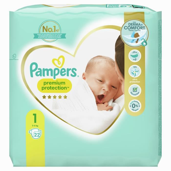 Pampers new baby taille 1 2 5kg 22 couches achat - Prix couches pampers new baby taille 1 ...