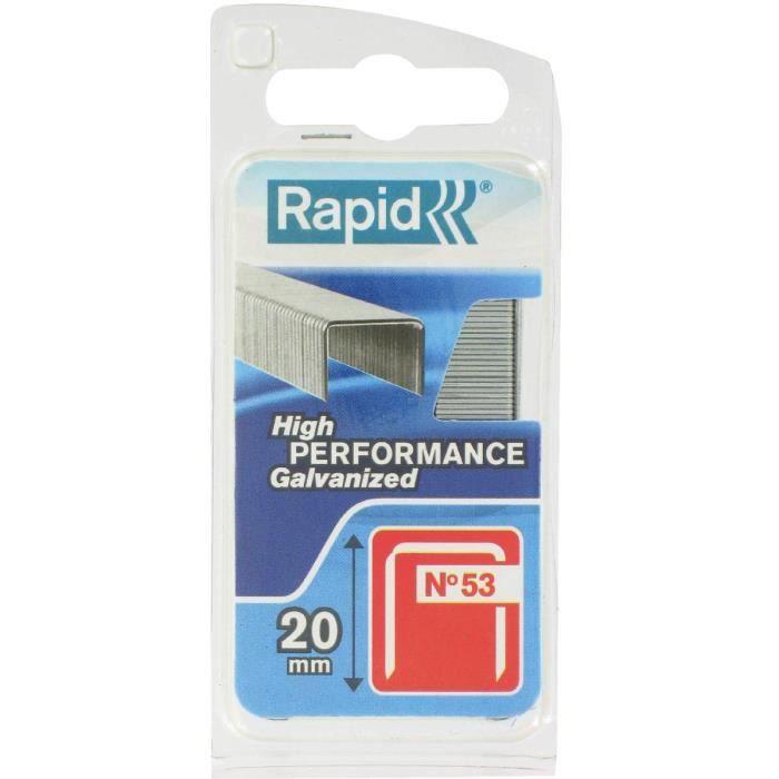RAPID 40109508 Agrafes galvanisées Pour le textile et la décoration Haute performance - Fil fin - N°53/20 mm Longueur 20mm, 540 pièc