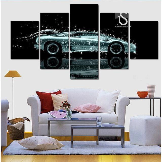Nouvelle Voiture De Style Et Goutte Du0027eau Peinture Murale Moderne Décor De  Maison Toile Art De Mur Impressions HD Photo Murale