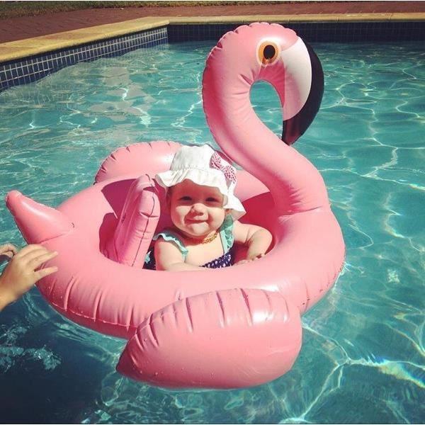 Flamant rose bou e gonflable pour b b en piscine achat for Flotadores para piscina