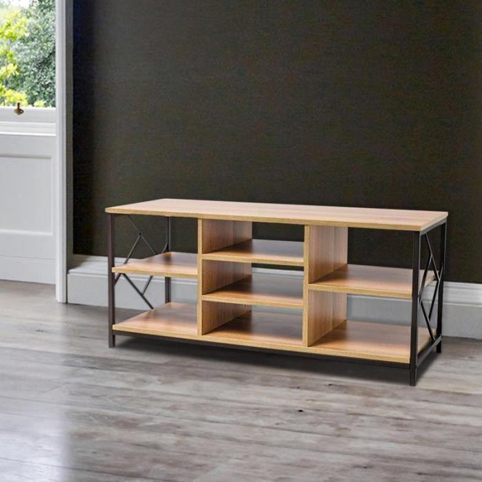 Meuble TV / Meuble de salon - ROTBY - 120 cm - brun / effet chêne - cadre  en métal - style industriel