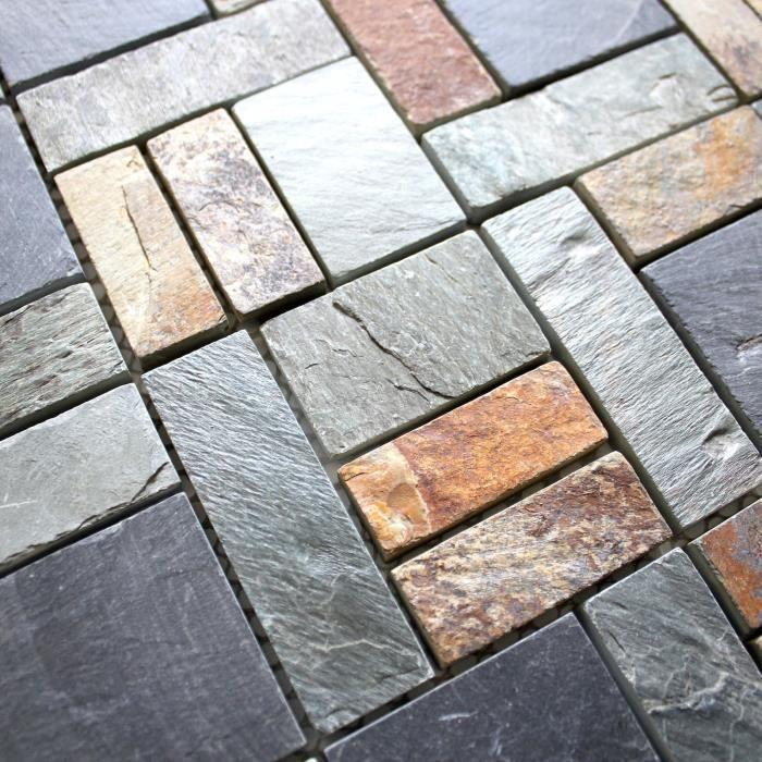 Mosaique pierre ardoise sol et mur douche et salle de bain miko ...