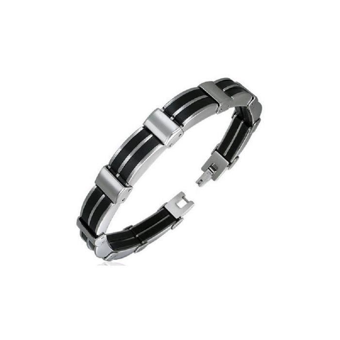 belle couleur nouvelle sélection prix de gros Gourmette bracelet homme en acier inoxydable et caoutchouc noir
