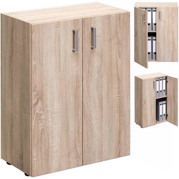 armoire 2 portes rangement meuble 77cm ch ne achat vente meuble classement armoire 2. Black Bedroom Furniture Sets. Home Design Ideas