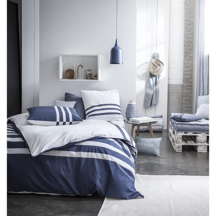 today parure r versible cabane de plage atlantik 100 coton 220x240 cm bleu achat vente. Black Bedroom Furniture Sets. Home Design Ideas