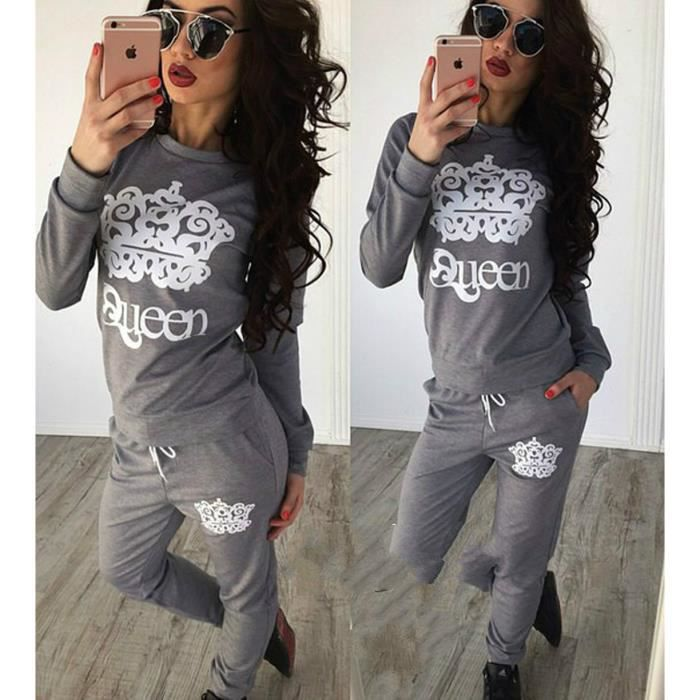 mignonne qualité incroyable chaussures pour pas cher Gris survêtement femme ensemble jogging marque pull et pantalon GYM sport  sweat-shirt hoodie fille coton imprimé Queen couronne