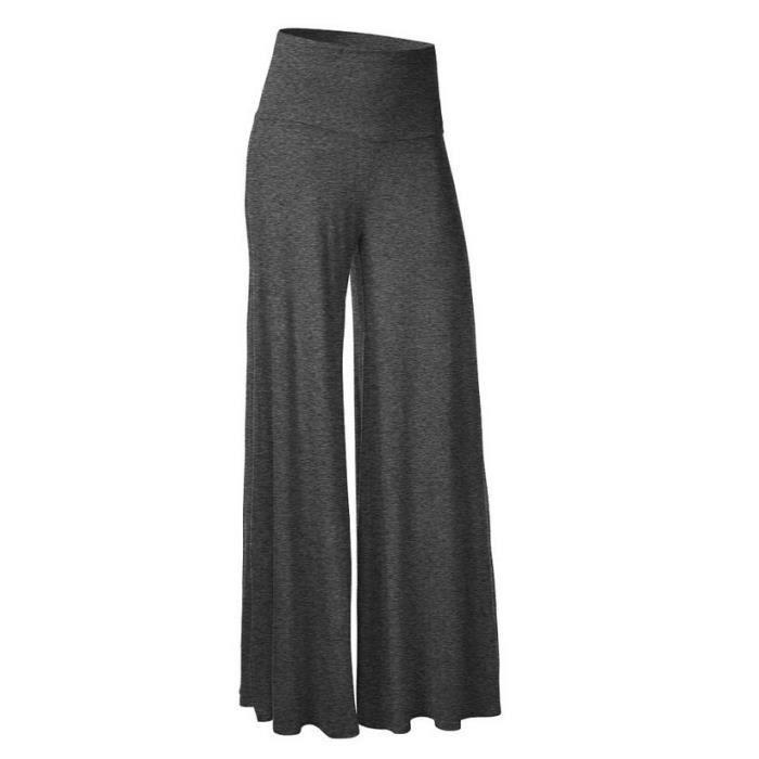 b4536c73197 Pantalon large femme taille élastique grande taille décontracté SIMPLE  FLAVOR