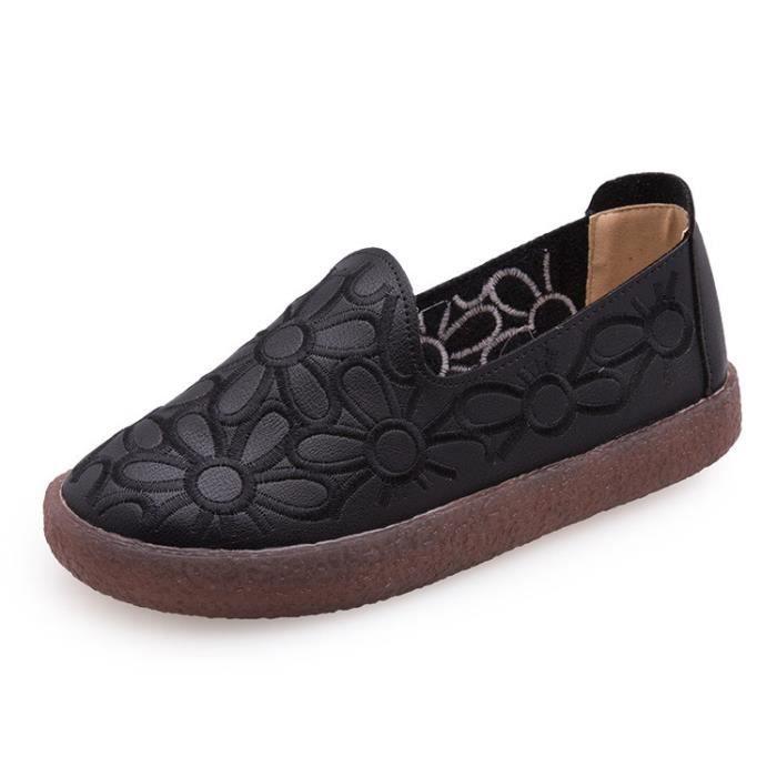 2017 nouvelle automne grande taille unique chaussures femmes chaussures fleurs Sen femelle vintage rétro paresseux plat chaussures