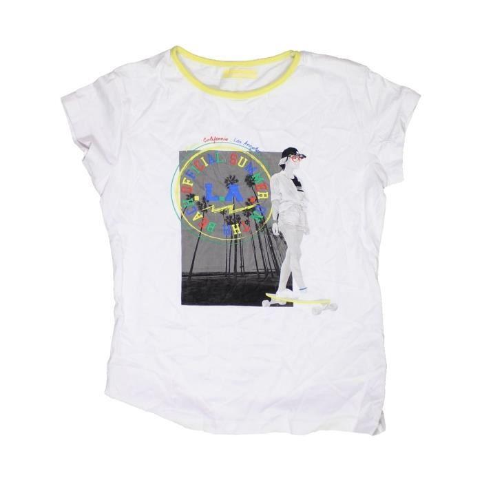 cb80deaca4ad4 T-shirt manches courtes enfant fille IN EXTENSO 12 ans blanc été - vêtement  bébé  1079881