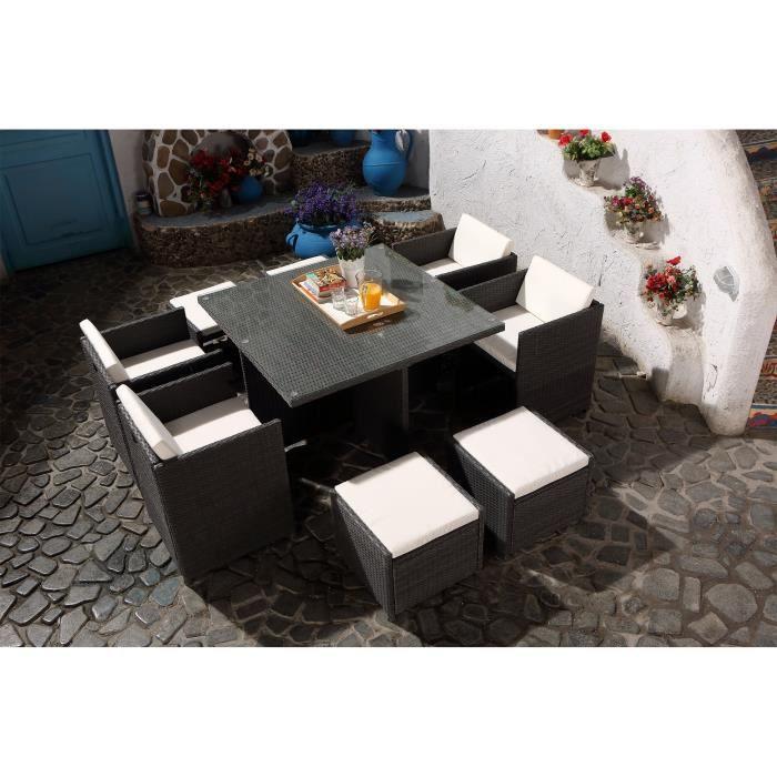 Vito Salon jardin gris encastrable 8 personnes - Achat / Vente salon ...