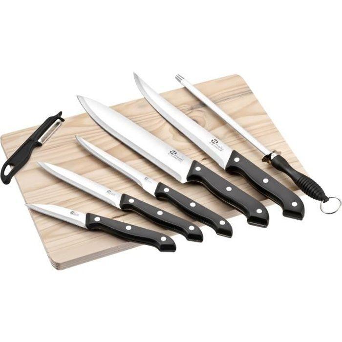 Pradel excellence planche en bois avec 5 couteaux de cuisine un fusil et un plucheur gris et - Pradel couteau cuisine ...