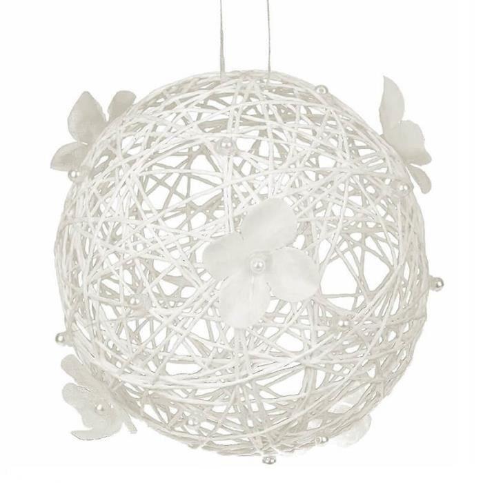 Boule Blanche Avec Fleur A Suspendre X1 Ref Dec375 Achat Vente