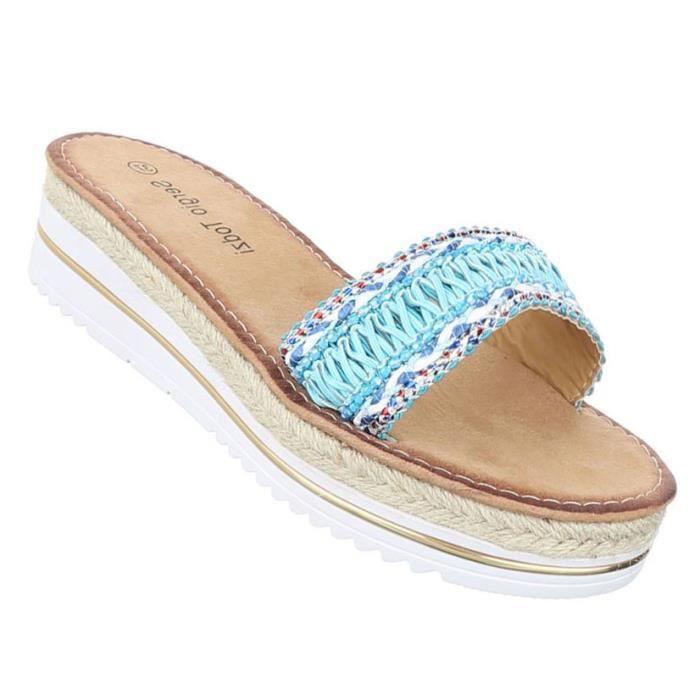 Femme sandales chaussures chaussures de plage chaussures d'été Pantoletten bleu clair 41