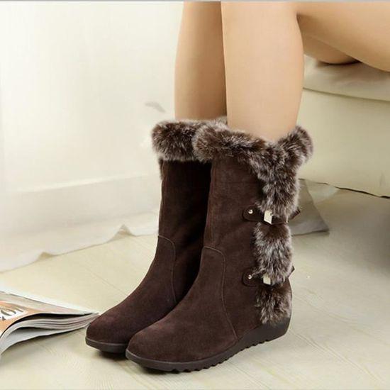 Minetom Bottes De Femme Chaussures Hiver Cheville Neige Boots Chaudes Bottines Simple Mignons Wedges Élégant Mode Bottine tipkqTxTH