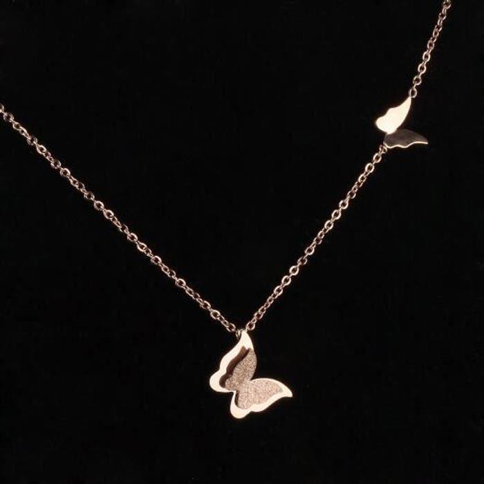 Papillon Clavicule Femme Colliers Mignon Or Rose Couleur Acier Inoxydable Femmes Bijoux Cadeau Lien Cha?ne