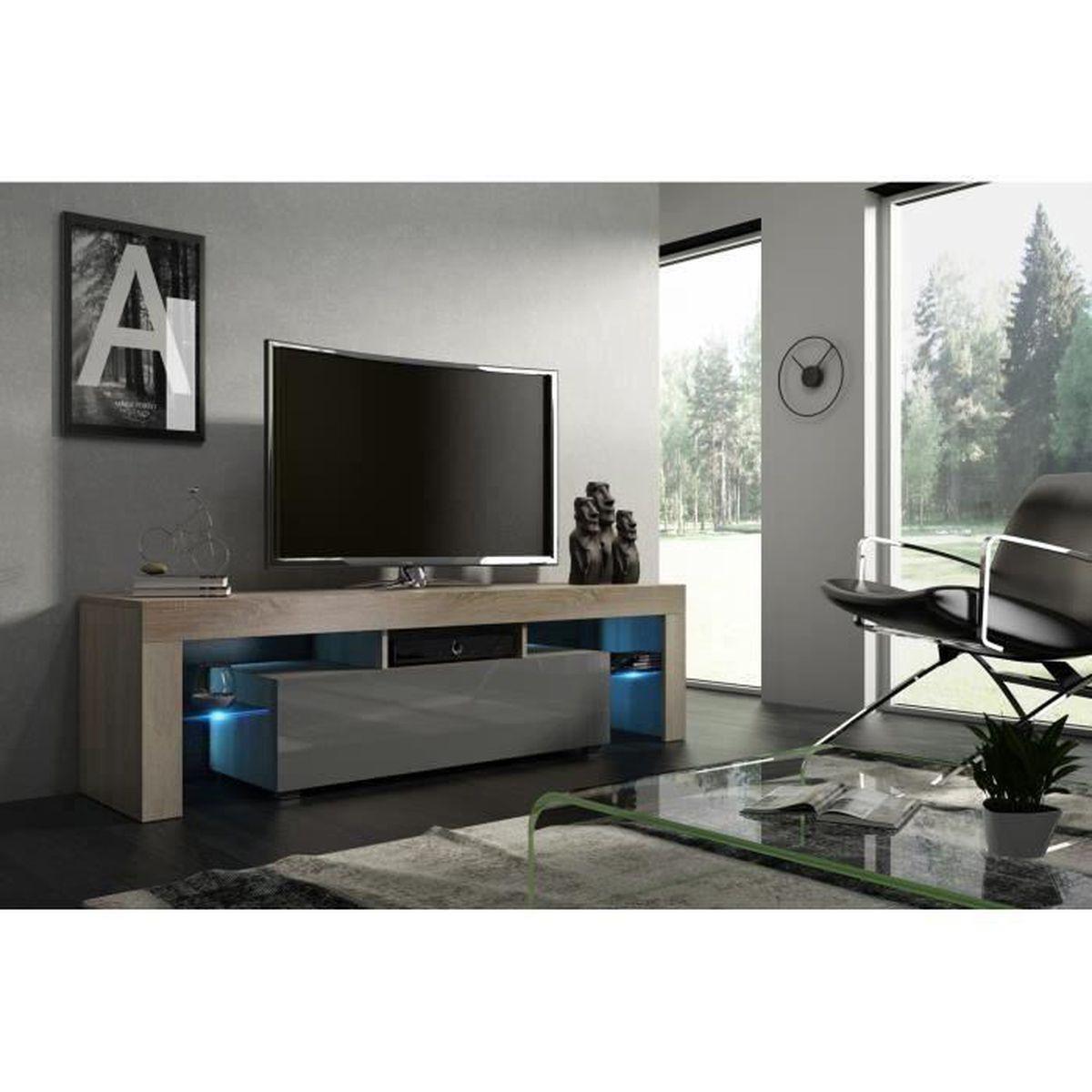 acheter pas cher 591f5 ace8d Meuble tv gris laque led
